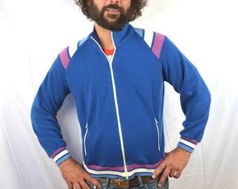 Vintage 1970s 80s Blue Striped Ringer Track Jacket - Winning Ways