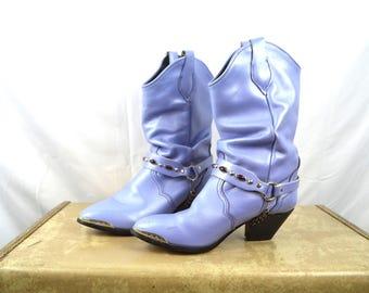 Vintage Women's Purple Lavender Bejewled Party Boots  - Size 6
