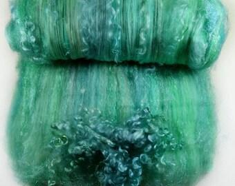 Seaglass Wild Card Bling Batt for spinning and felting (3.9 ounces), batt,art batt
