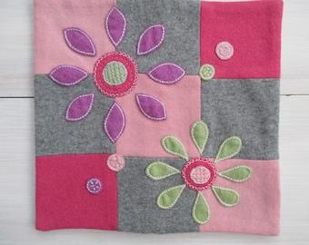 cashmere cushion, pink,grey