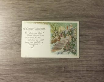 Vintage A Cheery Christmas 1927 postcard with a Christmas poem, Mount Pleasant Michigan postmark and red 2-cent Benjamin Franklin stamp
