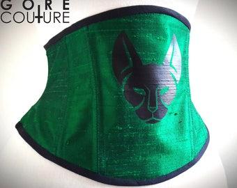 Sample READY TO SHIP - Green Silk with Black Feline 22 inch Underbust Steel Boned Corset Cincher