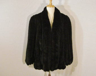 Mink Coat Black Faux Fur Jacket Glam Chic High Fashion Luxe L XL