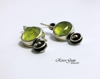 Silver Earrings, Prehnite Sterling Silver Earrings, Petite Gemstone Earrings,Statement Earrings, Small Drop Earrings