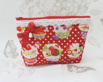 Cupcakes pouch -kawaii cute pouch-red purse - make up bag- kawaii bag- zip pouch -pencil case-pochette