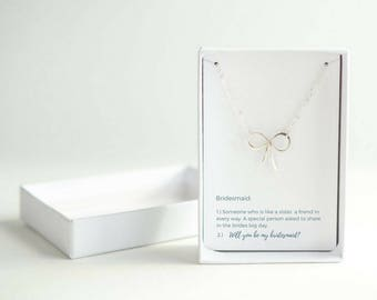 Gift from Bride - Bridesmaid Proposal Gift - Will You Be My Bridesmaid - Sterling Silver Bow Necklace - Silver Bridesmaid Necklace