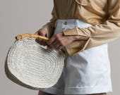Vintage 70s Crochet Round Bamboo Handle Clutch