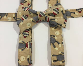 Sock Monkey Matching Bow Tie and Suspender Set for Toddler to 6-7 yr old