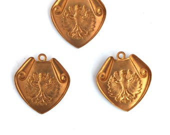 3 Vintage 60s Crests with Bird Pendants Bronze Color Vintage Findings Stampings NOS