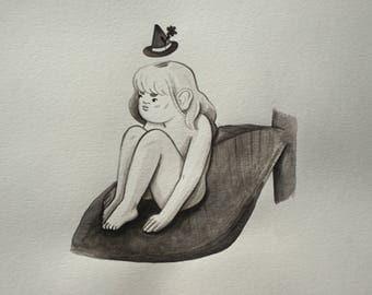 Resting | Ink Painting | Inktober Original