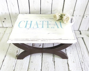 Vintage Stool, Step Stool, White Wood Stool, Shabby Stool, Shabby and Chic, French Chateau Farmhouse, Rustic Decor, Painted Chandelier Stool