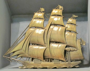 Vintage Gold Sailboat Wall Plaque, Large 3D Sailing Pirate Ship Golden Clipper Boat Nautical Beach House Decor Hollywood Regency Made in USA