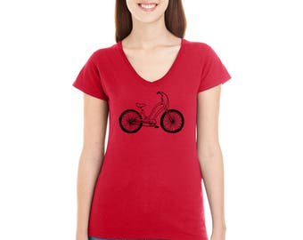 Townie Bicycle Shirt, Beach Cruiser Tshirt, Vneck Shirts for Women, Ladies Tshirt, Junior Fit, Hand Screenprinted, Gift For Cyclist Bike Tee