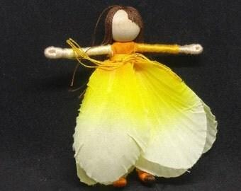 Waldorf Flower Fairy Doll - Candy corn Art Doll, Worry Doll, Faery, elemental