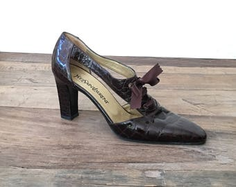Vintage Yves Saint Laurent Brown Alligator Heels Pumps Womens 8.5 M  Made in Italy / Vintage YSL Designer Shoes 8.5 cut out, lace up