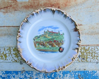 Souvenir Plate Würzburg Germany Vintage Decorative Collectible Wurzburg Bavaria