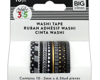 Happy Planner Mini Washi Tape Black and White (10 rolls) Me & My Big Ideas (WTSS-01)