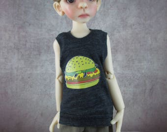 Burger Time tank top and board shorts for Maurice by Kaye Wiggs MSD BJD Boys