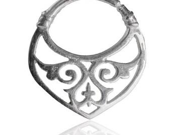 Septum, Tulsi Silver Septum, Ornamented Septum Ring, Septum piercing, Septum jewelry, Tribal septum, Septum piercing, Nose ring