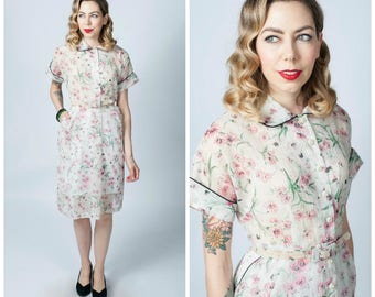 Vintage 1950's White Semi Sheer Floral Print Button Front Dress/ 50's Flower Print Dress with Matching Belt Size Medium