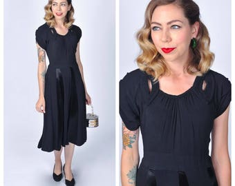 Vintage Late 1930's to Early 1940's Black Rayon and Satin Dress with Braided Neckline/ 30's 40's Rayon Fit and Flare Dress Size Medium