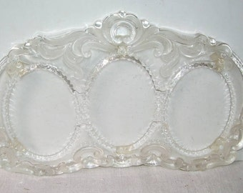 Mikasa 3 Oval Picture Glass Picture Frame, Home Decor, Table top Picture Frame, Ornate glass Frame, Wedding Picture Frame,