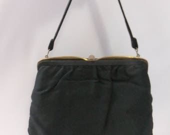 Vintage Purse Evening Bag Black Fabric Gold Tone Hardware Double Compartment Short Handle Lift Up Clasp Cloth