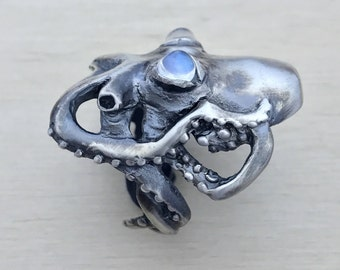 Octopus Ring with Rainbow Moonstone Eyes in Oxidized Sterling Silver