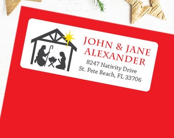 Christmas Address Labels - Nativity Silhouette - Sheet of 30