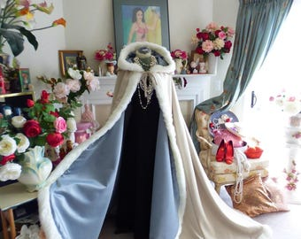 Lord of the Rings Inspired Bridal Cape Beige Satin / Platinum Satin 52/67 inch  Hooded Wedding Cloak with Fur Trim Handmade in USA