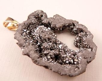 Gemstone Pendant Titanium Crystal Geode Druzy Agate Pendant Silver Geode Pendant Gemstone Bead Silver Pendant