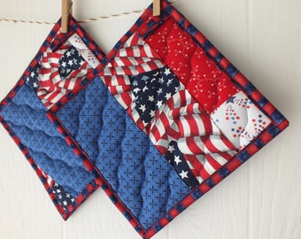 Patriotic Potholders - Red, White and Blue Americana Pot holders