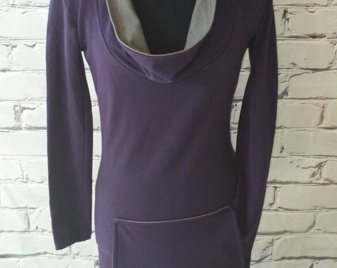 Purple Cowl Neck  Organic Cotton Sweatshirt