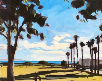 California Oil Painting -  9x12 - Carpinteria Landscape painting by Sharon Schock