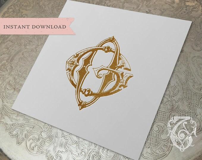 Vintage Wedding Monogram GO OG Digital Download G O