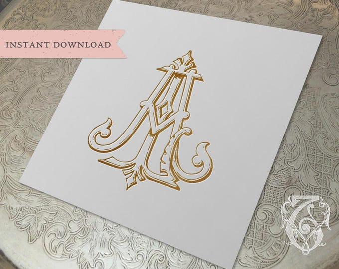 Vintage Wedding Monogram AL LA Digital Download A L