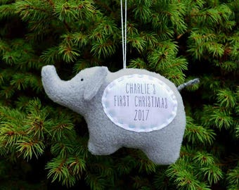 Baby's First Christmas Personalized Ornament, Personalized Christmas Ornament, Custom Ornament - Gray Elephant