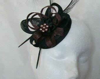 Black and Mocha Brown Pheasant Curl Feather Sinamay Loop & Pearl Wedding Fascinator Mini Hat - Made To Order'