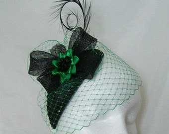 Black and Emerald Green Veiled Crystal Studded Teardrop Fascinator Percher Mini Hat Gothic- Made To Order