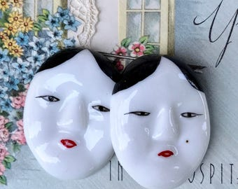 1 Vintage Chinese Face Cabochons, Large Face Cabochons, Oriental Cabochons,Porcelain Cabochons,China Cabochons, 37x29mm, #1240A