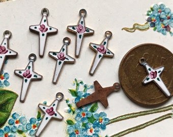 4 Guilloche Cross Charms, Enameled Crosses, Vintage Guilloche Enamel Crosses, Ornate Cross, Religious Charms, Christian Charms #G123M