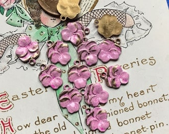 Cottage Chic Charms, Vintage brass Pansies, 18 KT Gold Accents, Pink Pansy charms, Enameled pansy, painted metal flowers, #956JK
