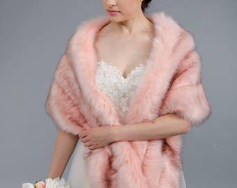 Blush faux fur wrap bridal wrap faux fur shrug faux fur stole faux fur shawl faux fur cape B001-blush