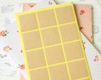 60pcs square blank KRAFT shapes sticker labels