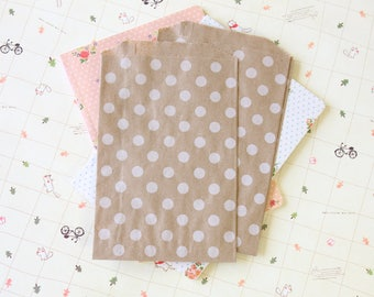 White Polka Dot Kraft Brown paper bags Middy Bitty Bags