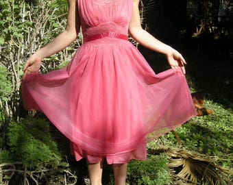 60s Vanity Fair Negligee Nightgown Pink Chiffon Sash Size 32