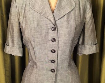 Vintage 1950's Short Sleeved Tailored Jacket in Gray Cotton