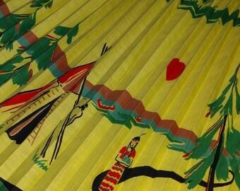 1950s TEEPEE Novelty Print Native American Girl Man Indian Landscape Knife Pleats Camping Canoe Lake