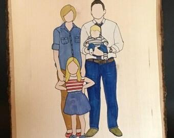Custom Family Portrait on Wood Square - Large
