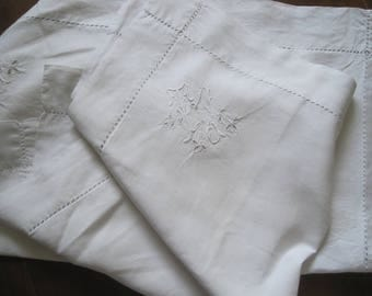 Pair of pillowcases: superb French heavy pure linen, hand stitched, monograms, decoration, Eurosham, bedroom, cushion covers